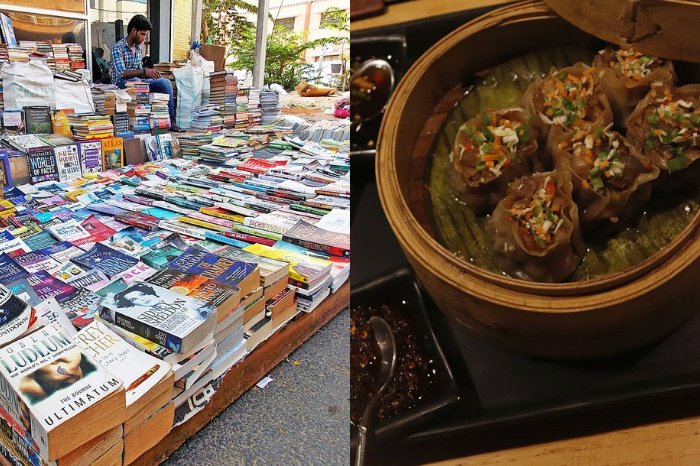 Street shopping for books, dimsum at bay of buddha at the promenade, pondicherry