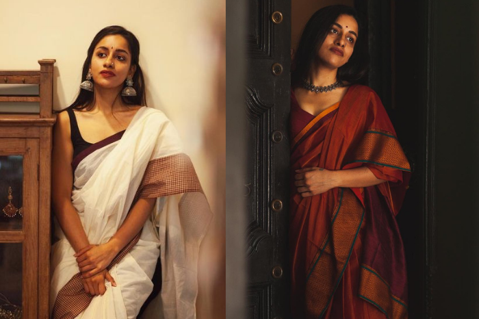 Rich south Indian looking saree in white and rust brown and maroon from margazhi design