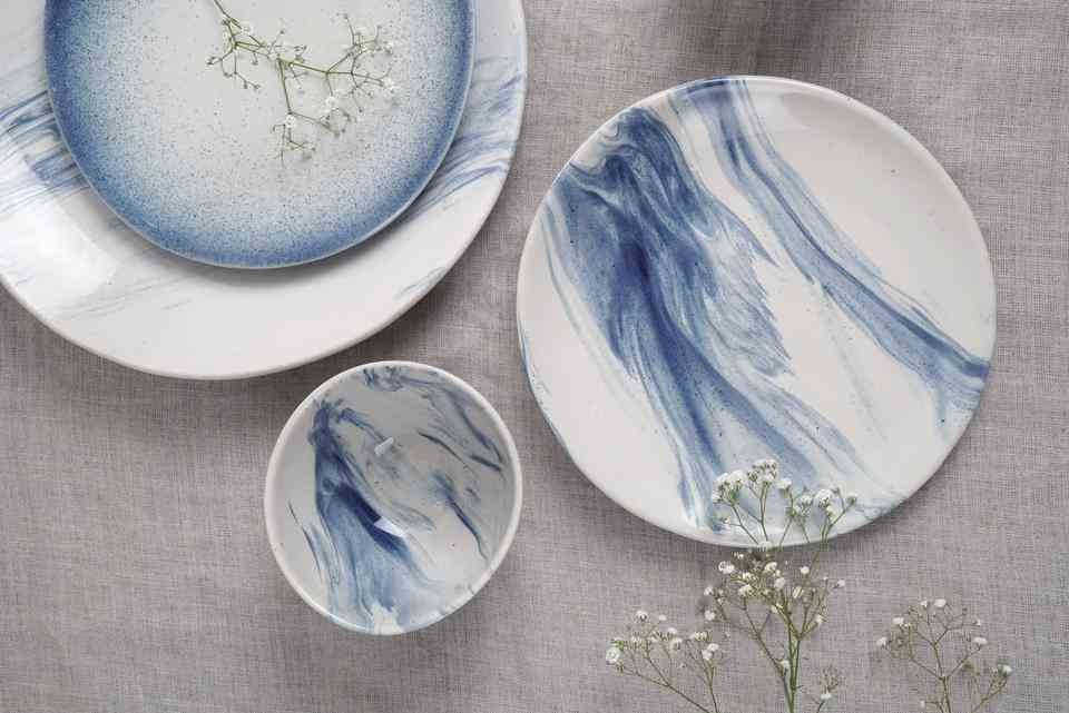 White and blue patterned Ceramic dinner ware from Indus People