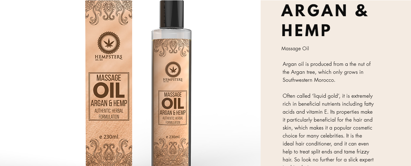 Argan and Hemp Oil, one of the body care hemp products offered by Hempsters, Hyderabad.