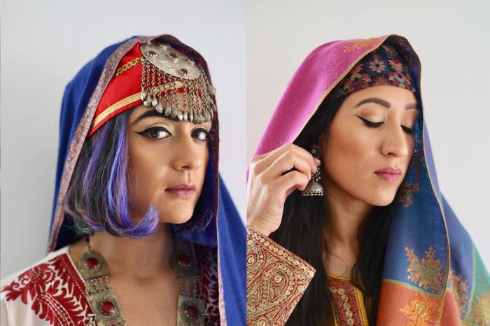 Kashmiri women wearing pheran with aari embroidery with pashmina shawl