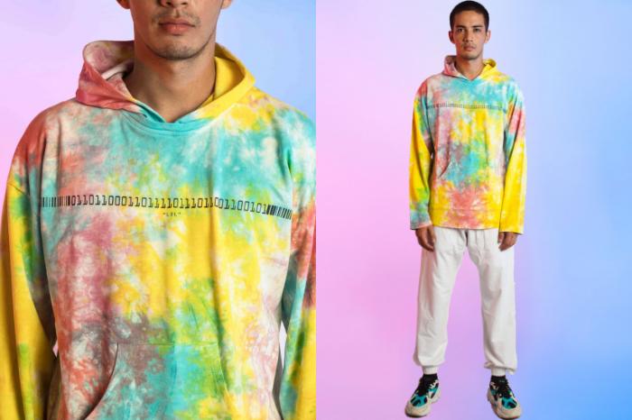 Man wearing technicolor binary printed hoodie from SIX5SIX