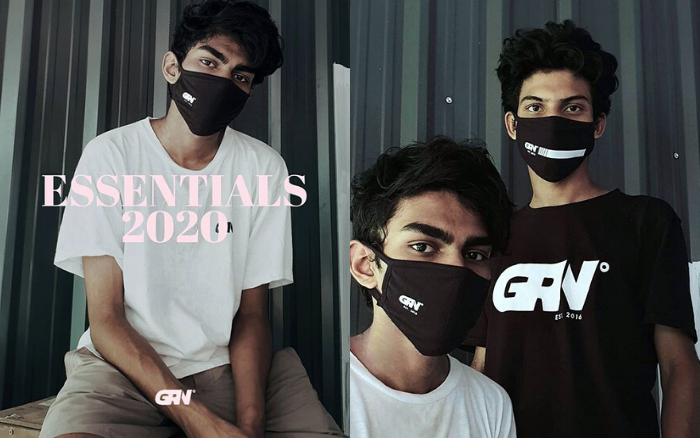 GRN typographical print face masks