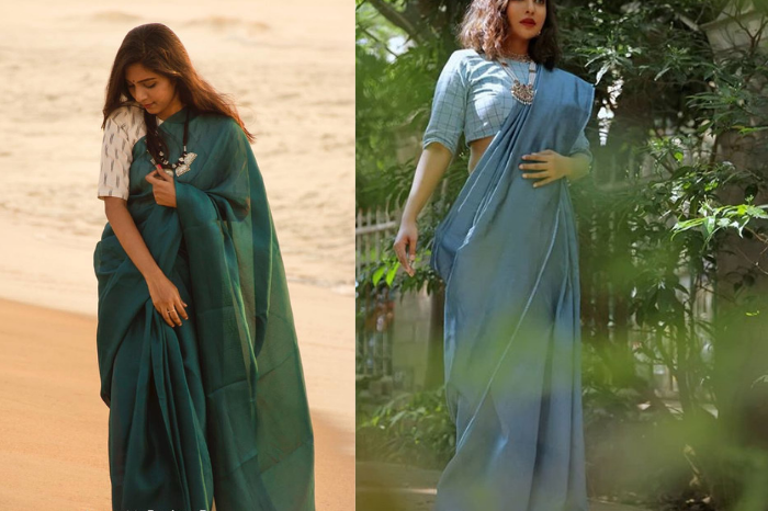 Green and Blue solid casual wear saree from sitaara online