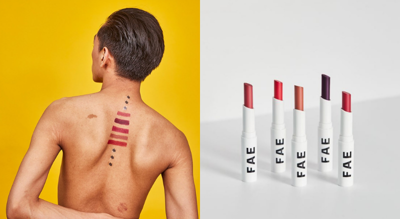 Indian Man with lipstick swatches on mid back, FAE Beauty lipsticks in different shades