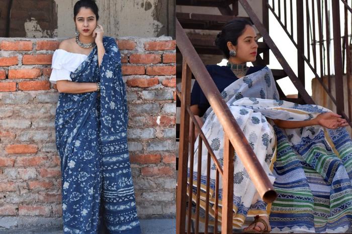 Blue and white hand printed ajrakh dabu saree from sundarii