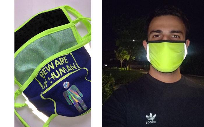 Neon facemasks made of scrap material