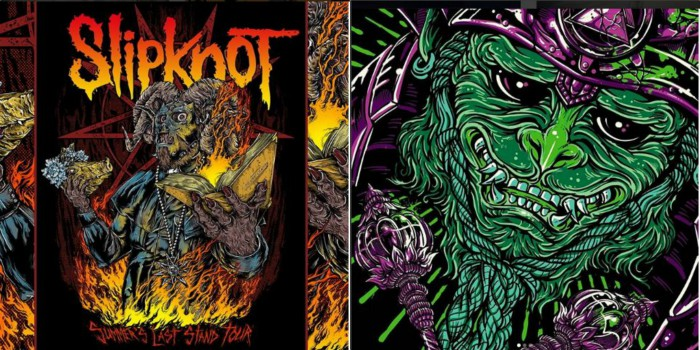 Visual Amnesia's visuals for Slipknot(L) and 12 Foot Ninja (R). Credit: Visual Amnesia